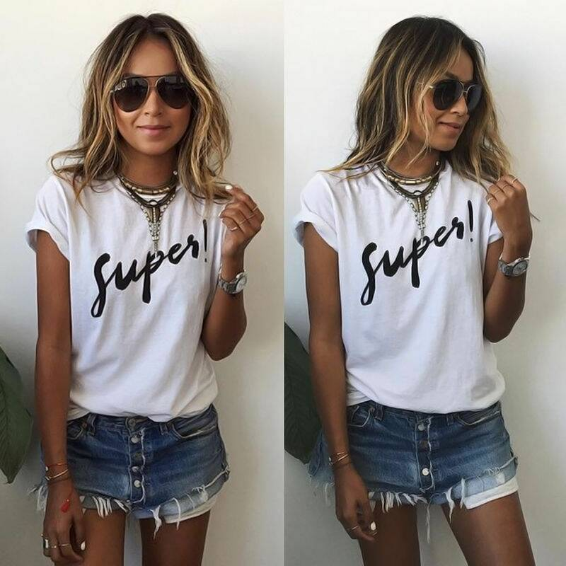 Women Funny Letter Printing Casual T Shirt 22