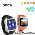 Sw16 lemado smart watch teléfono android 4.4 os mtk6572 512 mb + 4 gb mp3 bluetooth de la ayuda wifi gps cámara smartwatch para ios android