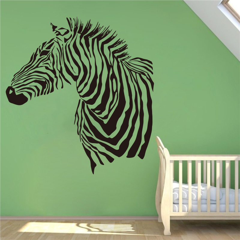 African Zebra Nature Animals Wall Vinyl Decal Sticker Wall Decor Home Interior Design Art Mural wall stickers #T331