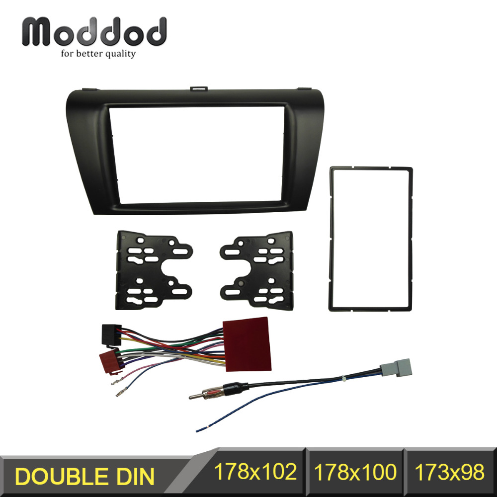 Double Din DVD Stereo Panel For MAZDA 3 04-08 Axela 06-08 Refitting Fascia With ISO Wiring Harness Trim Kit