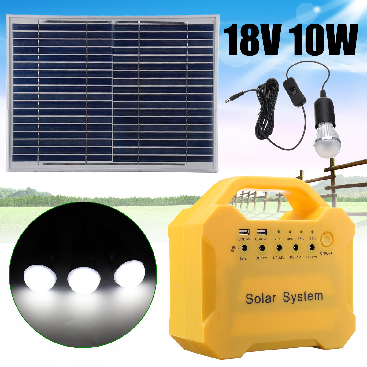 18V LED Light USB Charge Solar Panel Power Storage Generator System Home Outdoor Large Capacity Battery Energy Saving Camping hoox c02 magic stone series 6000mah polymer power bank dual usb quick charge energy saving green