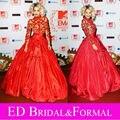 Рита ора платье at MTV европа наград красный ковёр знаменитости вечернее платье длинный рукав высокая шея мяч красный пром платье