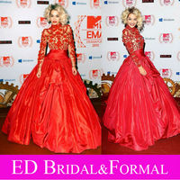 Rita Ora Dress At MTV Europe Awards 2012 Red Carpet Celebrity Evening Gown Long Sleeve High