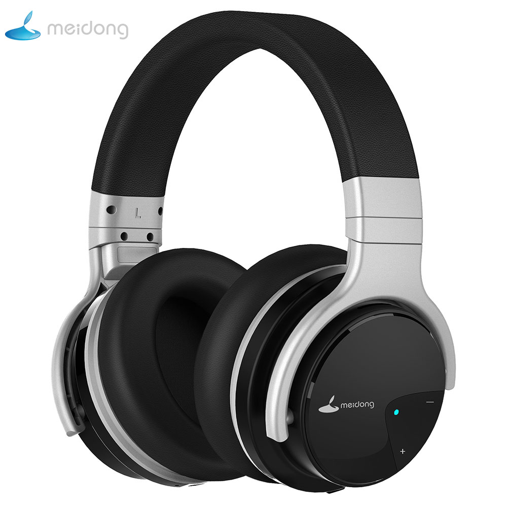 Meidong E7B Active Noise Cancelling Headphones Over ear Wireless Bluetooth Headset with microphone for phones azgiant bluetooth 4 2 active noise cancelling headphones wireless bluetooth headset with microphone for phones and music