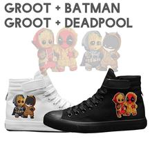 New Pikachu Deadpool Groot Batman Pattern High Top Breathable Canvas Uppers Sneakers Male VelcroShoelace Personalise Teen A19516(China)