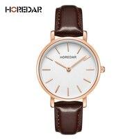 HOREDAR High Quality Simple Watches Women Ultra Thin Business Quartz Watch Fashion Rose Gold Female Clock