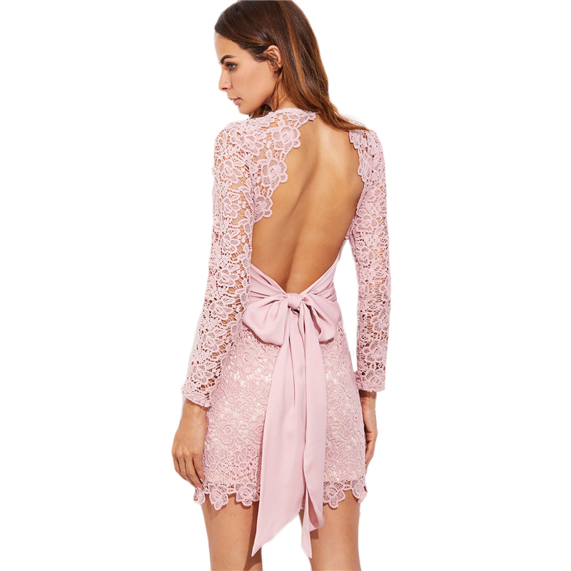 COLROVIE Vintage Lace Bow Tie Dress Sexy Open Back 2017 Women Elegant Pink Summer Party Dresses Long Sleeve Mini Bodycon Dress 11