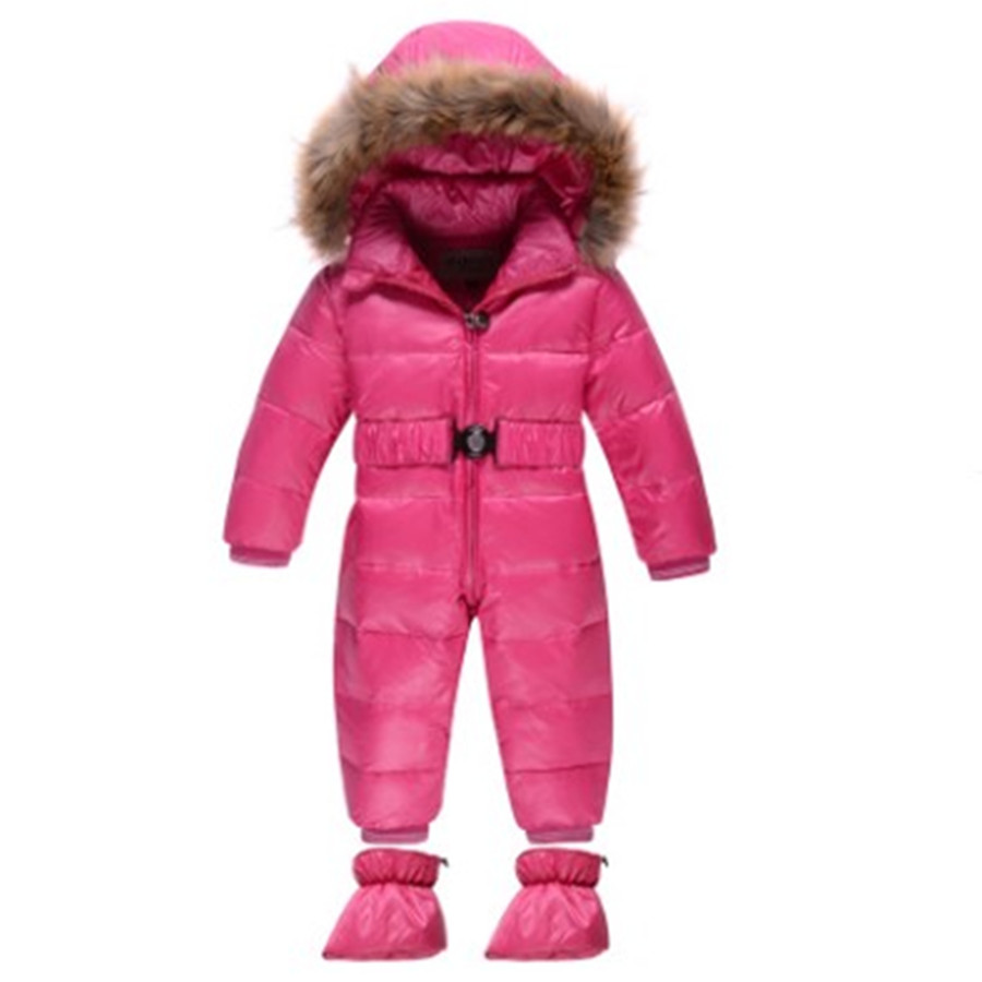 a6c227a656ff Baby snowsuit winter jacket windproof boys girls warm White duck ...