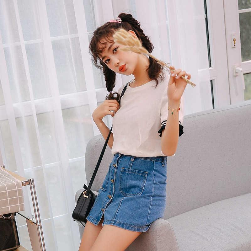 Джинсовая юбка трапециевидной формы с высокой талией, мини-юбки для женщин, лето 2018, Новое поступление, одна пуговица, карманы, синяя джинсовая юбка, стиль Saia, джинсы