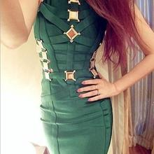 O-neck mini black green white sequined lace-up celebrity bea