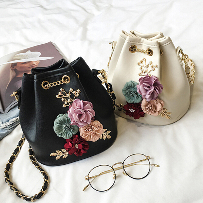 New Handmade Flowers Bucket Bags Mini Shoulder Bags With Chain Drawstring Small Cross Body Bags Pearl Bags Leaves Decals