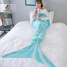 купить Parkshin Light Blue Strip Mermaid Throw Blanket Handmade Mermaid Tail Blanket for Adult Kid Multi Colors 2 Size Sofa Blanket по цене 888.39 рублей