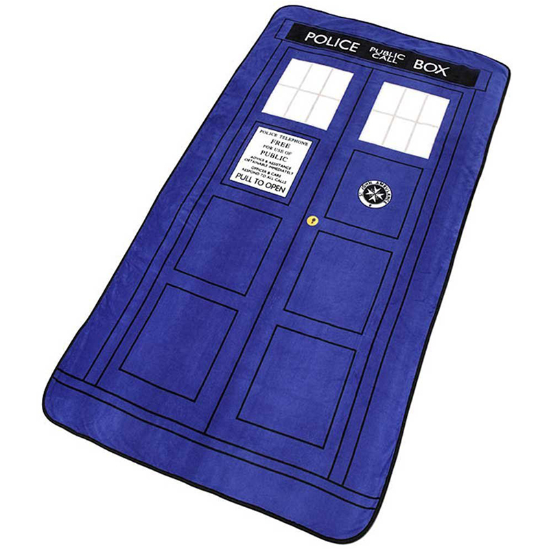 Doctor Who Cosplay Blankets Tardis Coral Fleece Carpet Police Box Blanket Blue Bed Sheet
