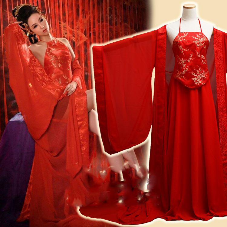 Hong Yi Meng Sexy Red Ancient Chinese Bra Costume For Boudoir Portrait Photo Album Thematic Photography Costume Hanfu