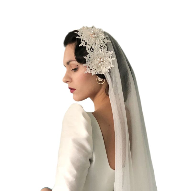 2 Tier Vintage Women Wedding Veil Floral Lace Applique Imitation Pearl Rhinestone Flower Bridal With Fixed Alligator Clips