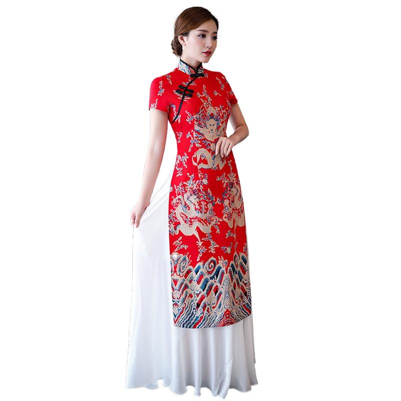 2019 Vietnam Aodai Vietnam Traditional Dress Vietnam Clothing Ao Dai Long Red Cheongsam Dress Chinoise Modern Cheongsam
