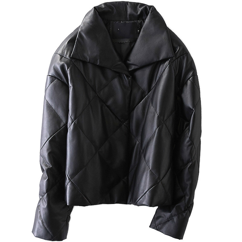 Manteau en peau de mouton Véritable Veste En Cuir Femmes Down Down Manteau D'hiver Femmes Vêtements 2018 Coréen Élégant Slim Fit Manteaux Courts ZT698