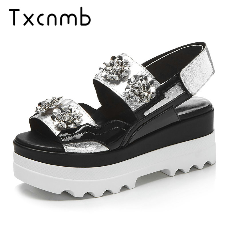 TXCNMB Shoes Woman 2019 Wedding Platform Sandals Wedge Women Genuine Leather High Heels Open Toe Fashion Female Summer ShoesTXCNMB Shoes Woman 2019 Wedding Platform Sandals Wedge Women Genuine Leather High Heels Open Toe Fashion Female Summer Shoes
