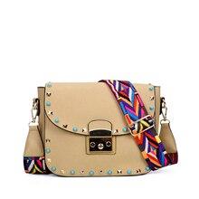 58c1fe00734d ZIWI бренд небольшой лоскут с широким ремешком и заклепки оформлены Bolsa  Feminina Для женщин сумка-