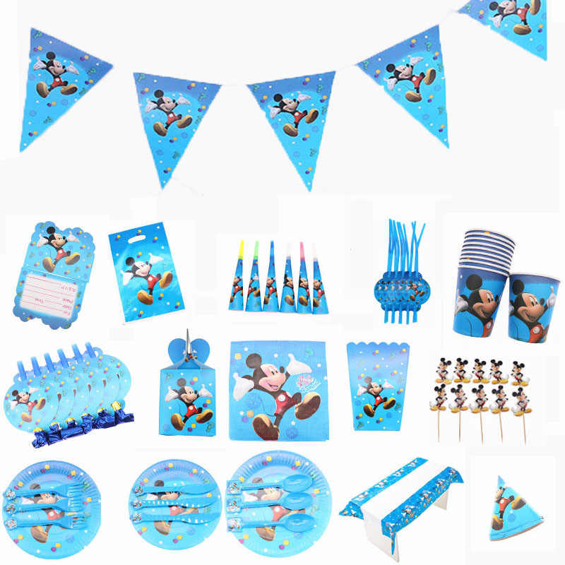 Mickey Mouse Theme Birthday party Decoration Boys Girls Children Party Disposable Tableware Sets Birthday Party Supplies