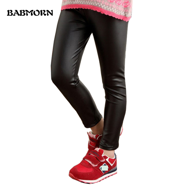 2b23b97be1a32 Girls Leggings 2-12Y Spring Autumn Kids Faux Leather Skinny Pants Fashion  Black Red Baby Childrens Trousers For Girl Pants