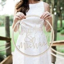 Пользовательский Свадебный деревянный круглый знак имени персонализированные имя Круг знаки деревенские Свадебные украшения для стола Страна Свадебные украшения