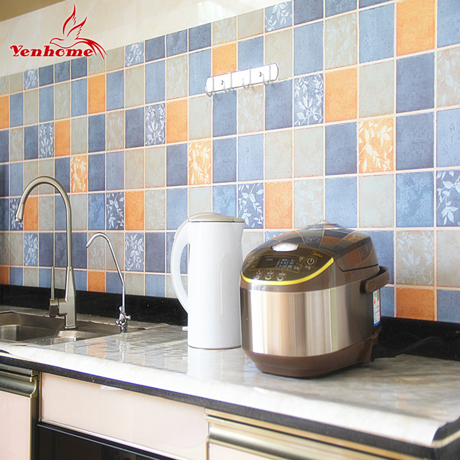 Mosaic Pattern Vinyl Wall Sticker Anti Oi Paste Kitchen Self ...