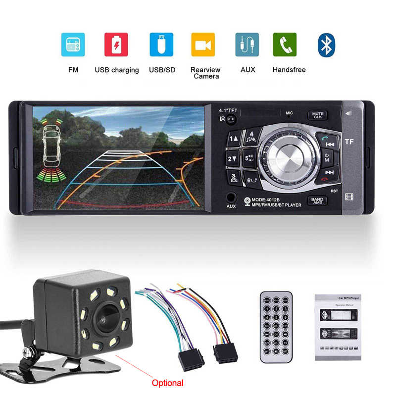 "4.1"" Car Radio Stereo MP5 Player Bluetooth Rear View Camera FM Autoradio 1 Din AUX USB SD MP3   Remote Control Audio Auto 4012B"