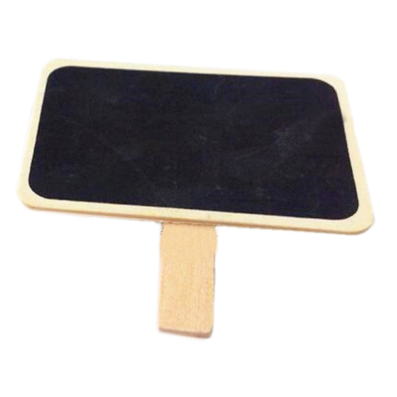 50Pcs/Lot Mini Chalkboard Wood Message Rectangle Slate Clip Cute Special Gift Small Wooden Clip Wooden Blackboard Clip Paper C