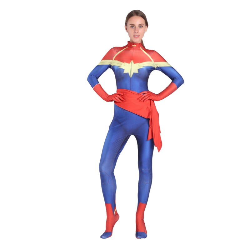 Captain Marvel Carol Danvers Cosplay Costume Captain Marvel Zentai For Girl Superhero Female Women Movie Cosplay Bodysuit