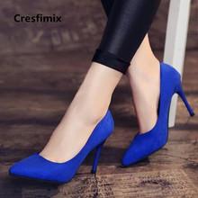 Cresfimix women cool casual suede 8cm high heels lady cute party high h