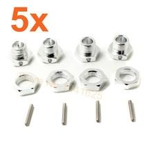 Comercio al por mayor 5 set/lote hsp 1/8 neumáticos adaptador hexagonal tuerca de la rueda 17mm alumbre Hubs con Pernos Tornillos de Fijación Para 1/8 Buggy Nitro Ofna Hiper