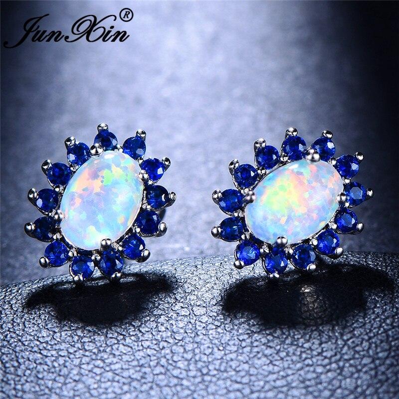JUNXIN Oval White Fire Opal Earrings Blue Green Purple Zircon Sunflower Stud Earrings For Women Rainbow Birthstone Earring Studs