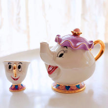 Cartoon Beauty And The Beast Teapot Mug Mrs Potts Chip Cogsworth Clock Tea Pot Cup One Set Lovely Christmas Gift Drop Shipping(China)