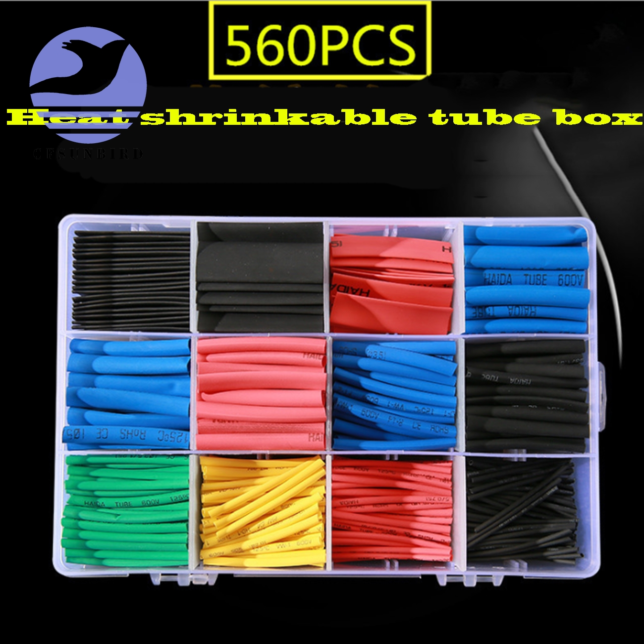 560 Pcs Heat Shrink Tubing 2:1 Electrical Wire Cable Wrap Assortment Electric Insulation Tube Kit With Box(China)