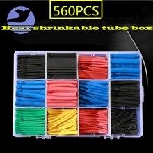 560 шт термоусадочные трубки 2:1 Электрический провод кабель обертывание ассортимент электрическая Изоляционная трубка комплект с коробкой