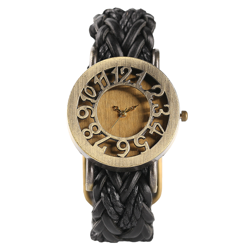 Steampunk Hollow Dial Quartz Wristwatch Skeleton Black Brown Knitted Band Bracelet Women Watches stylish golden hollow rounded rectangle hasp bracelet for women