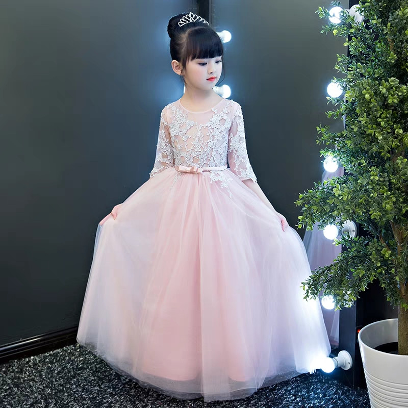 2018New Children Girls Elegant Pink color Embroidery Lace Birthday Wedding Party Long Mesh Dress Kids Teens Piano Costume Dress elegant children girls lace princess birthday wedding party pink dresses kids babies clothing costume piano host tutu mesh dress