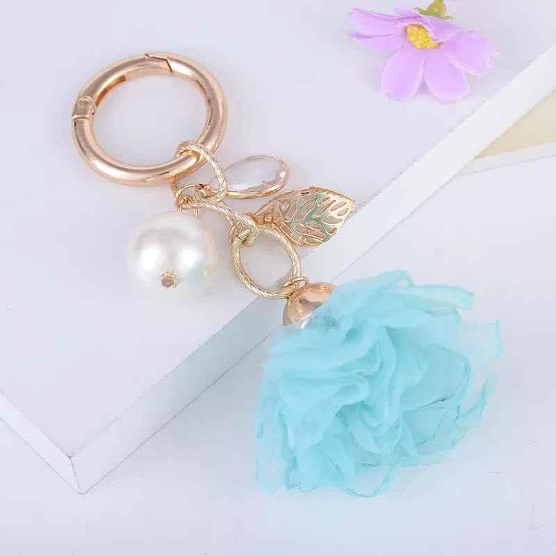 Novo charme moda couro rosa flor chaveiro bonito borla flor chaveiro feminino saco pingente jóias