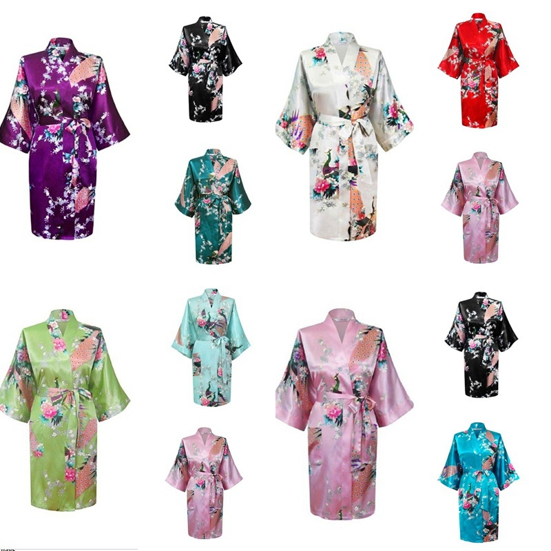 RB014 2015 NEW Summer Style Chinese Women's Silk Rayon Robe Kimono Bath Gown Nightgown S M L XL XXL Bridal Floral Print Robes