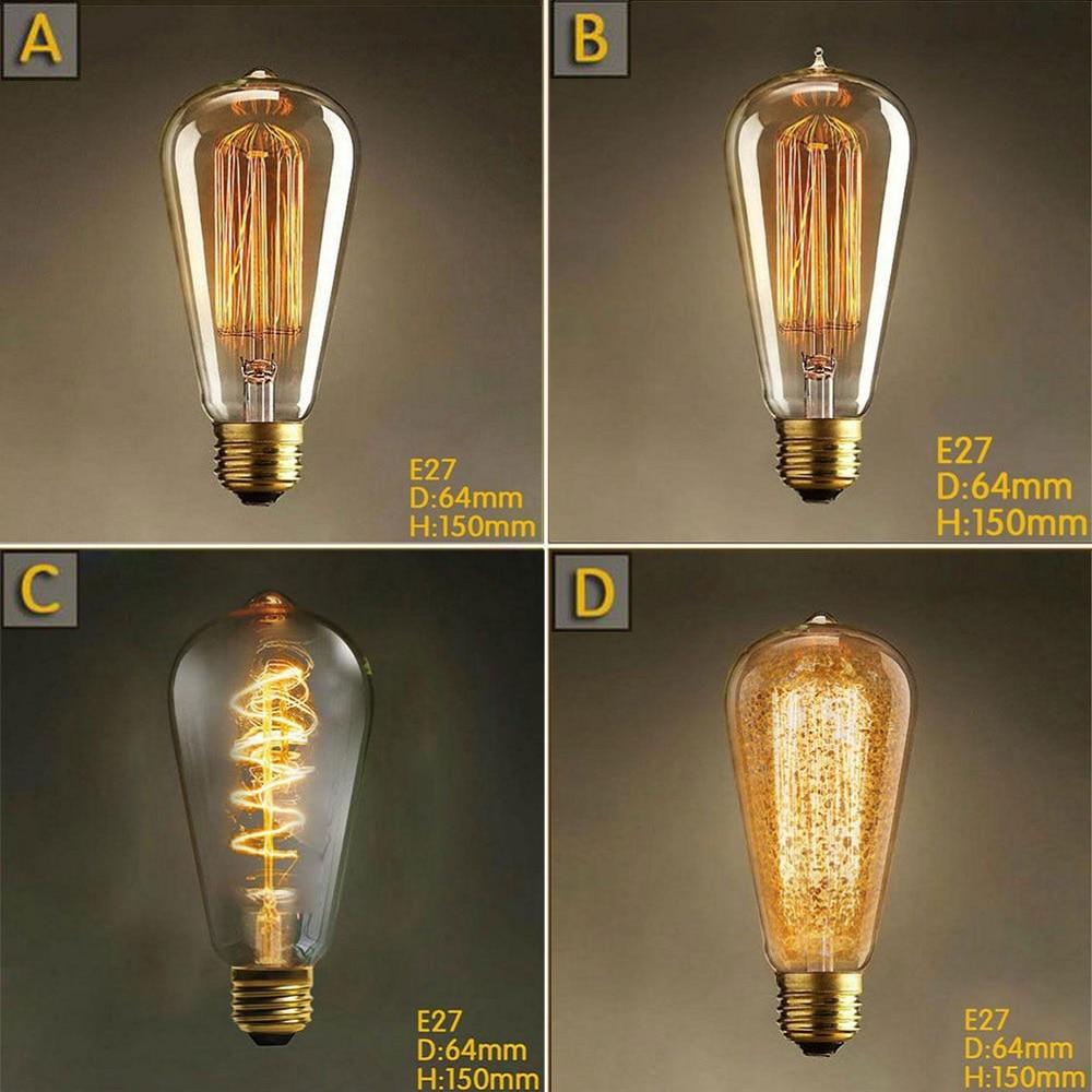 220V 240V E27 40W Edison font b Bulb b font ST64 vintage retro carbon font b