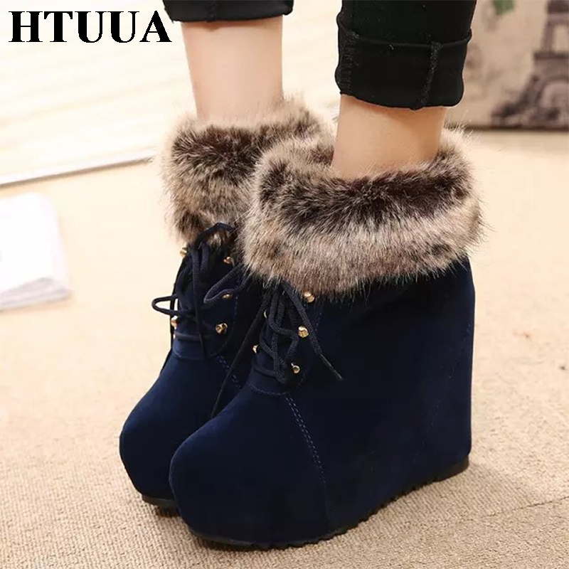 HTUUA Fashion Sexy Ankle Boots for Women High Heels 12CM Winter Boots Platform Shoes Faux Fur Plush Warm Ladies Shoes SX1391 platform bow faux fur ankle boots