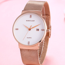 2018 ROSEFLIGHTNew Fashion Rhinestone Watches Women Luxury Brand Stainless Steel Bracelet watches Rose Gold Women Watches