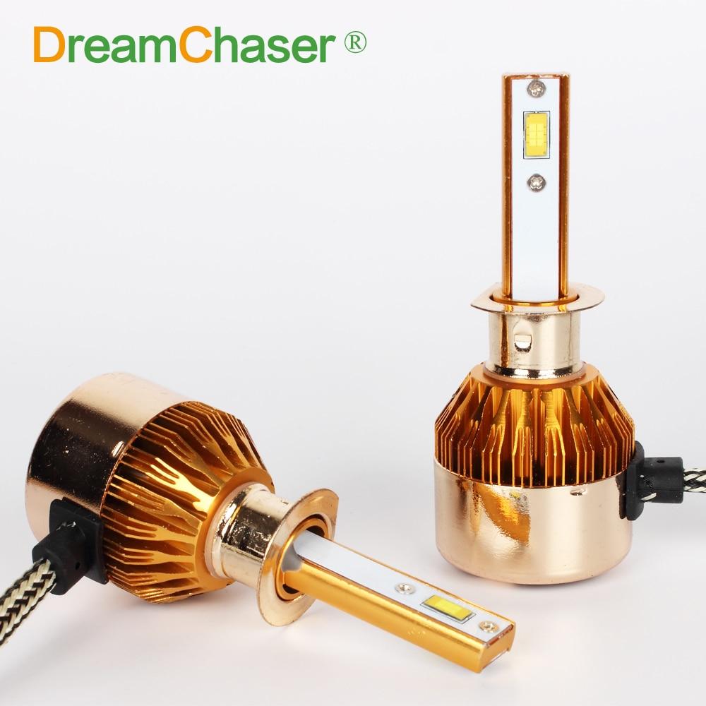 Dream Chaser H1 LED Car Headlight LED Bulb 7600Lm 72W Set 12V 24V Flip Chip 6000K Truck Fog Head Lamp C6F Golden Appearance