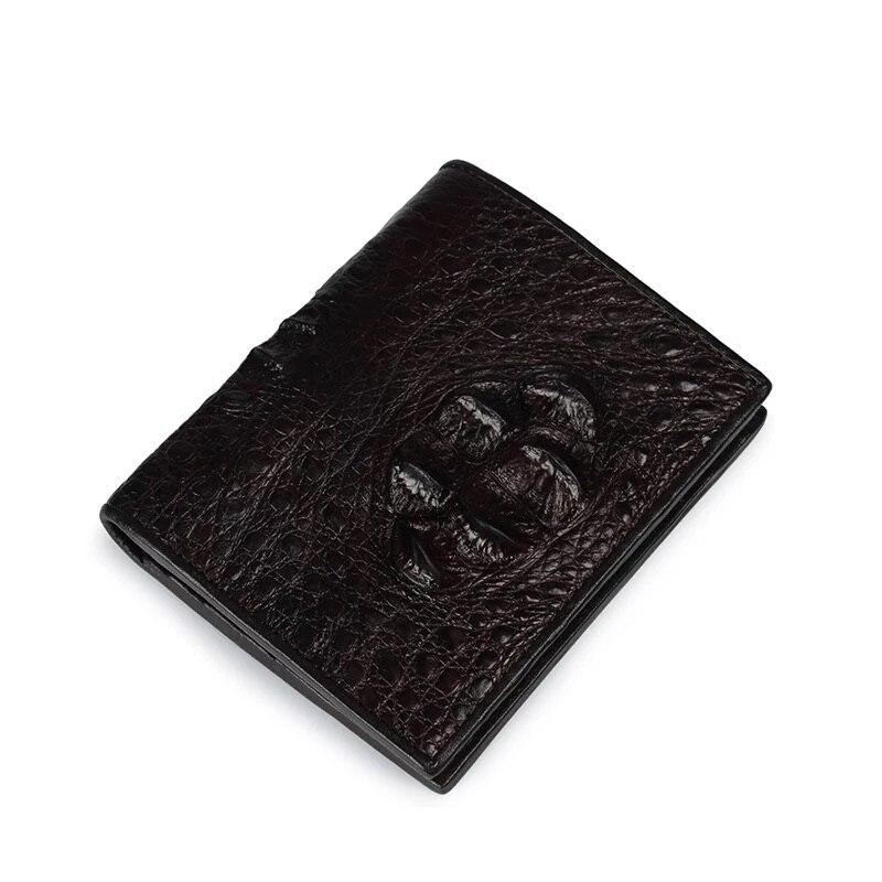 Classique Peau Mince Mâle Wallet Noir De Porte Trois Bourse En Cuir À Carte Titulaire Véritable café Court Alligator Volets Hommes La Crocodile monnaie Designer Noir rOrBXq