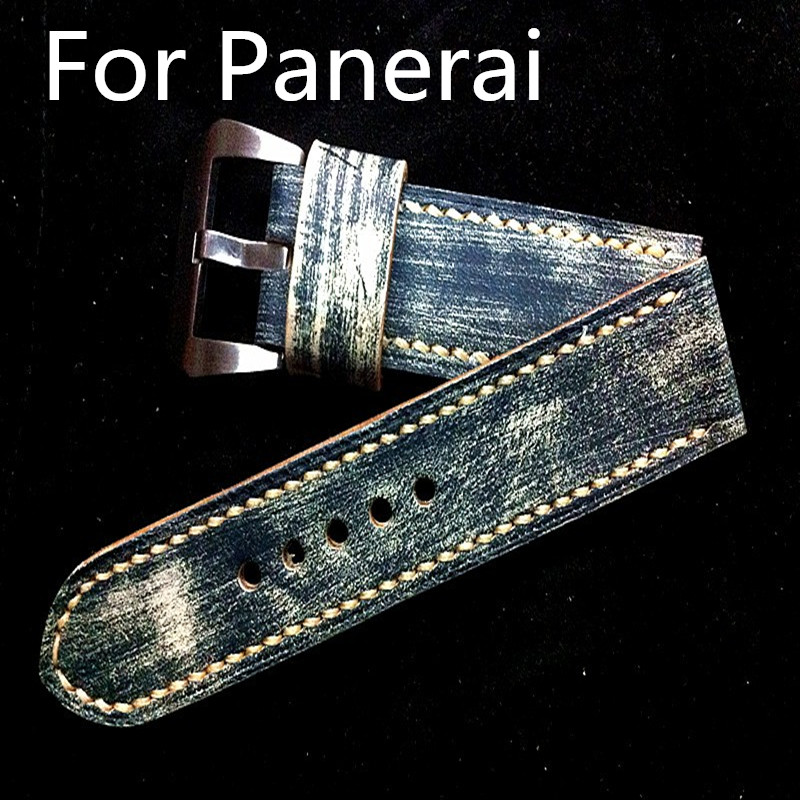 24MM 26MM Handmade Top Retro Leather Watch Strap, Calfskin Classic Watchbands Watch Belt For Pam imported calfskin leather watch strap