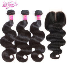 Queen Love Hair Brazilian Body Wave Lace Closure 3 Bundles With Closure Human Hair Bundles With Closure  Remy Hair Extension