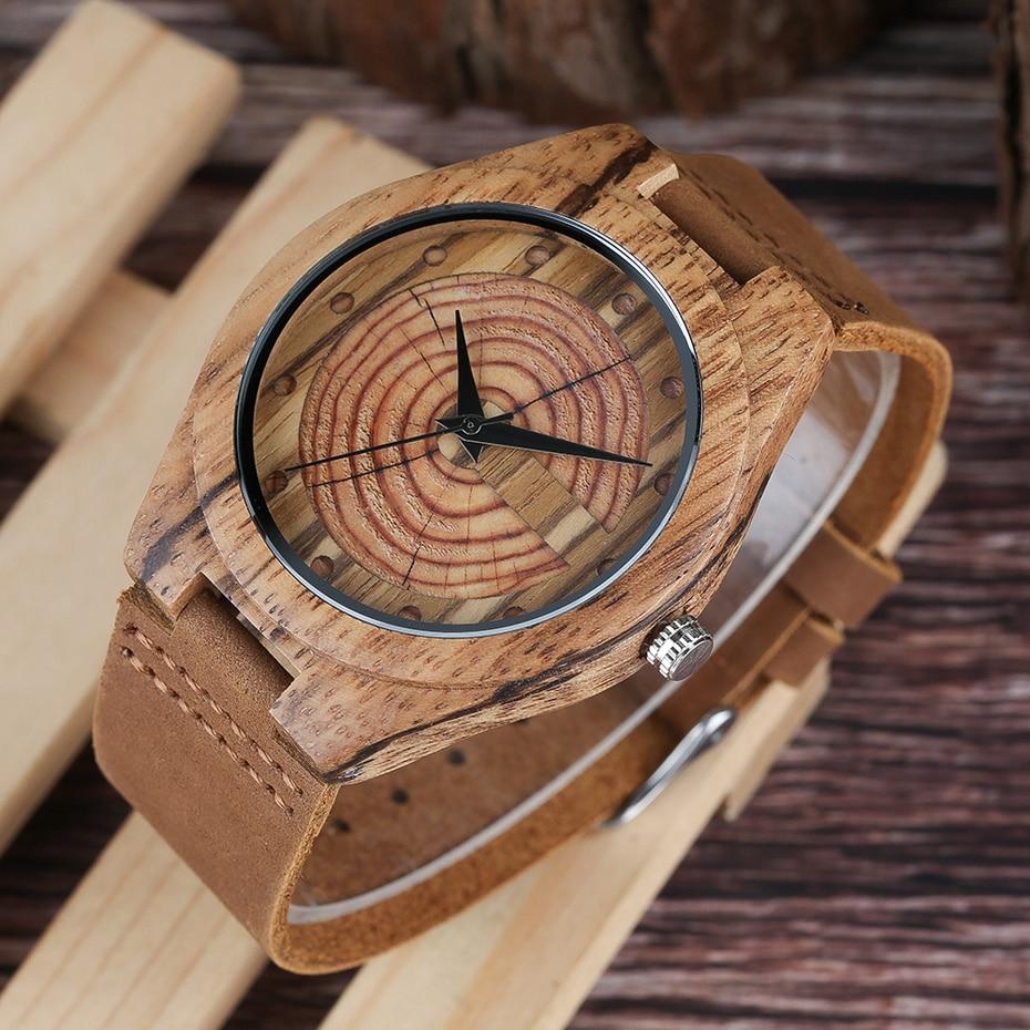 Men`s Wood Watch Handmade Annual Rings Block Points Black Hands Men Quartz Wrist Watches Brown Genuine Leather Starp Sports Hour (8)