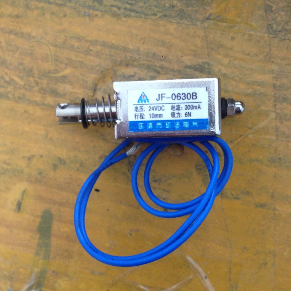 1 Pcs 6N Force Push Pull Type Electromagnet Solenoid DC 24V 300mA JF-0630B tau 0826 dc 6v 12v24v keeping force 16n 20n pull