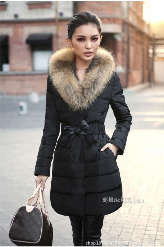 Free shipping 2016 New Women Long Plus size XL to 4XL Solid Slim Black Red  Yellow 3 color 4 size Down with Fur Collar Hat